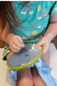 preschooler sewing