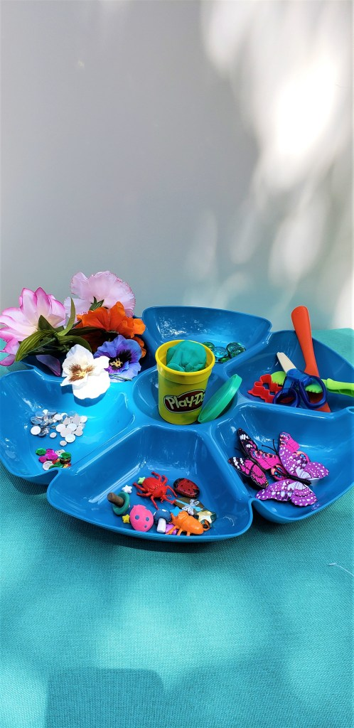 Butterfly Garden Play Dough Activity Tray