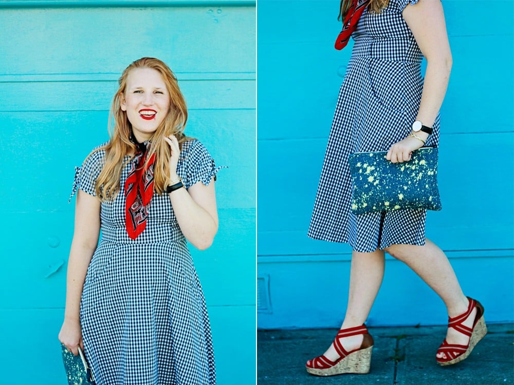 shabby apple dress and Claire V denim clutch