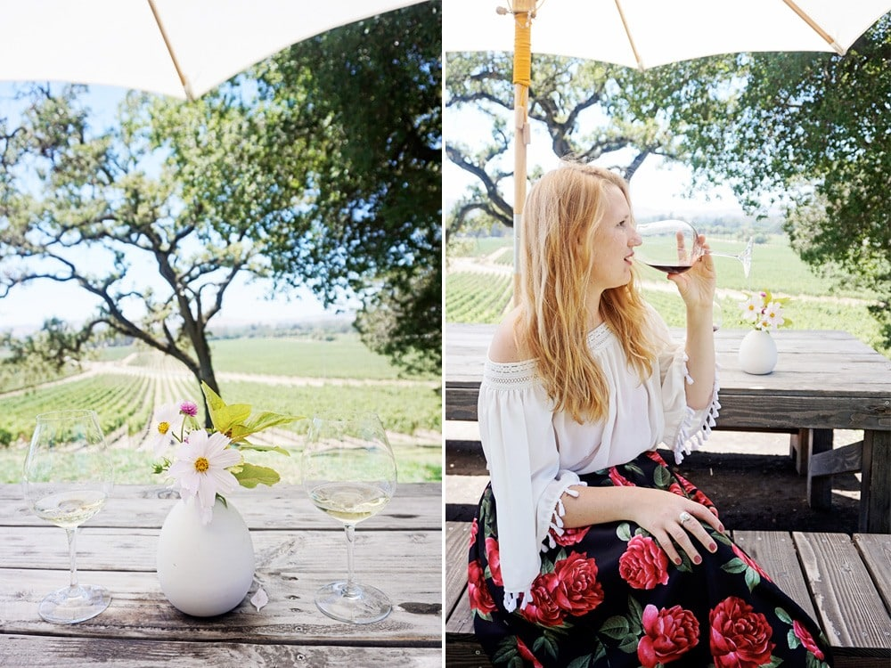 scribe winery tastings outdoors in a rose skirt from Forever21