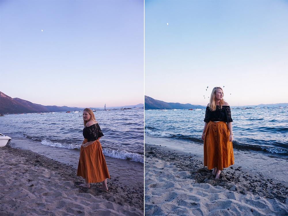 Hyatt Regency Lake Tahoe at sunset in H&M orange midi skirt