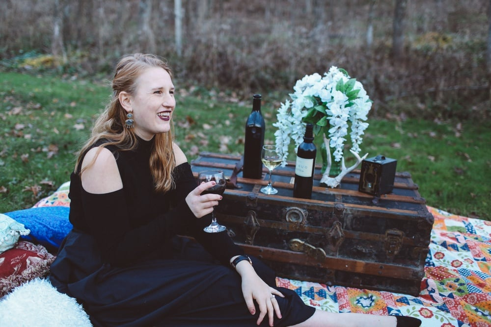 Boho chic outdoor wine tasting