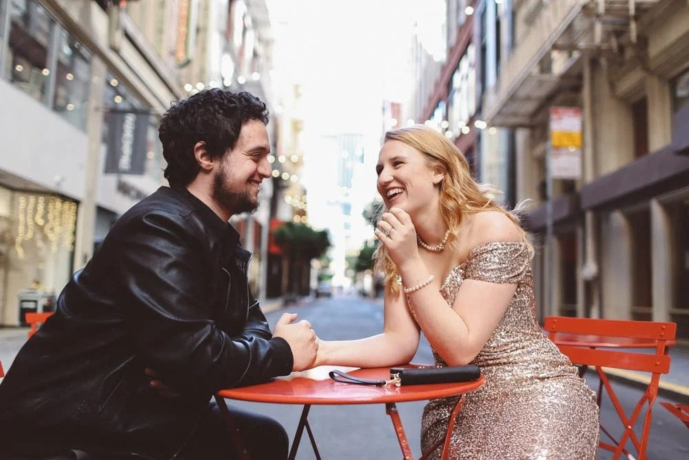 Badgley Mischka Sequin Gown for Engagement Photos in San Francisco