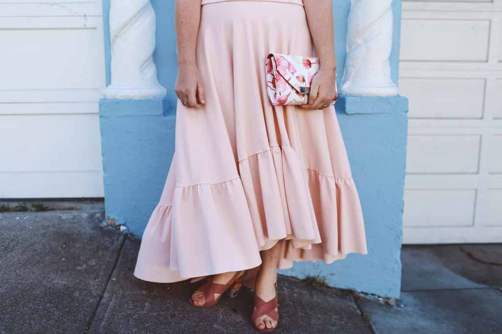Pink Boohoo maxi ruffle dress