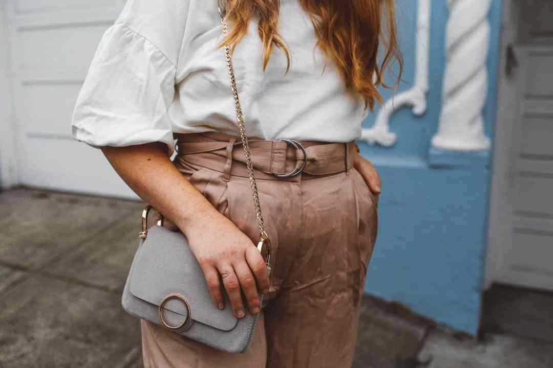 blush wide leg pants grey purse white bell sleeve blouse