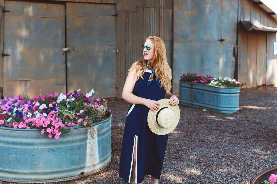 Lake County California blue maxi dress straw hat