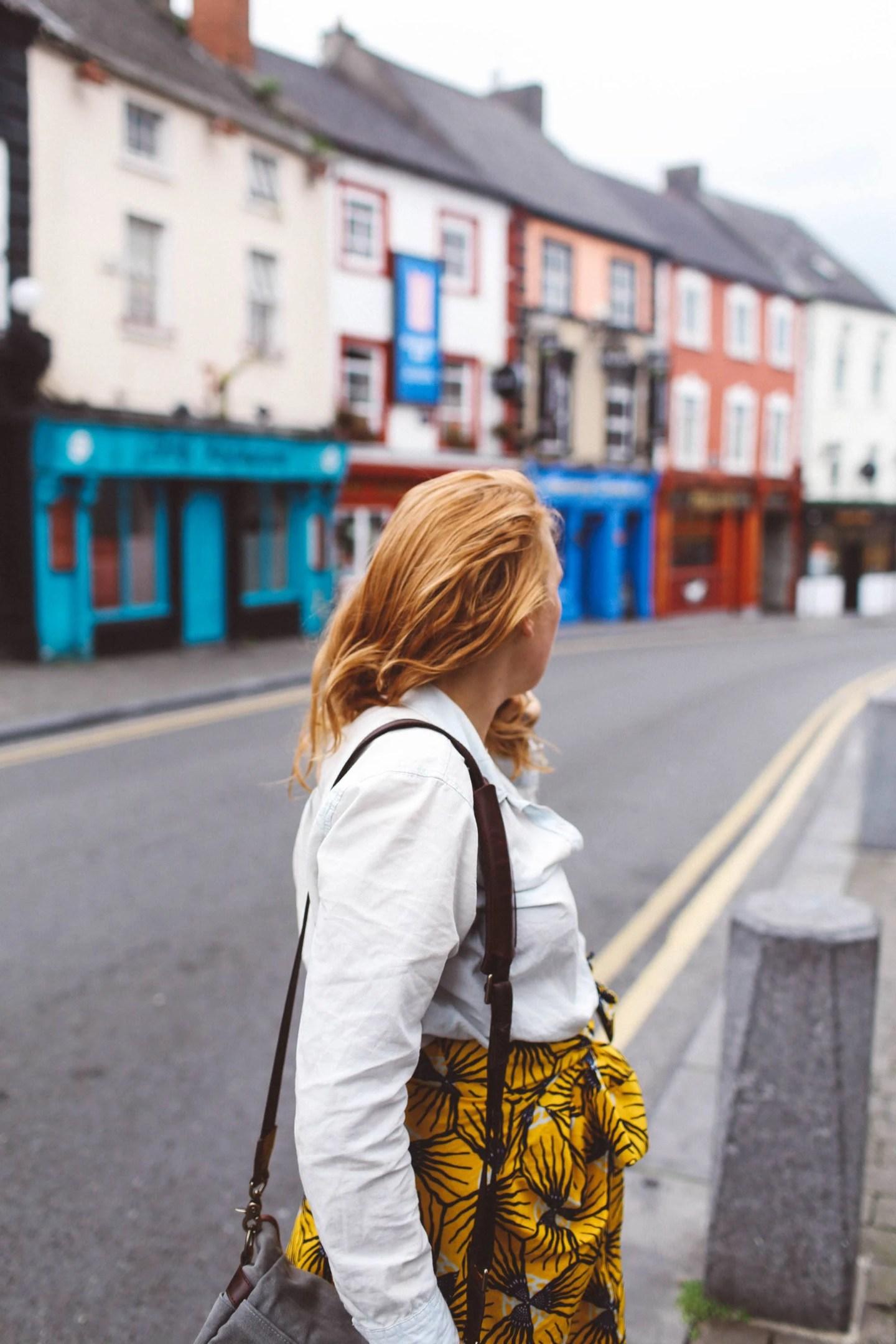 kilkenny ireland woman yellow skirt