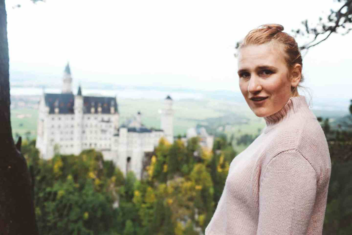 Neuschwanstein Castle pink sweater
