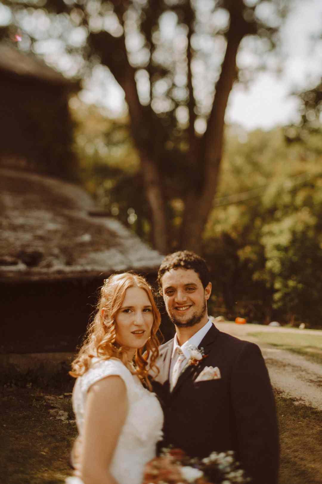 bride groom rustic wedding portrait