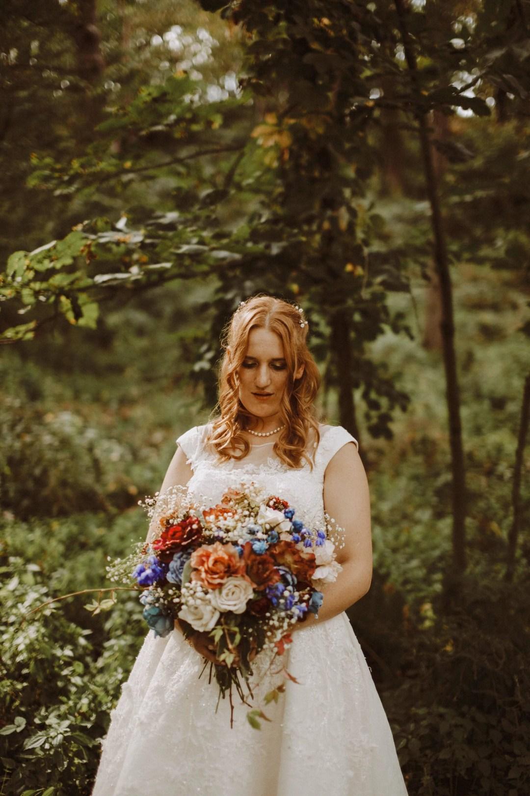 boho bride woods wedding
