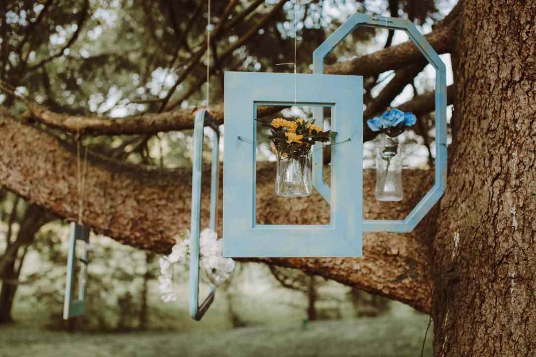 wedding window frame hanging tree