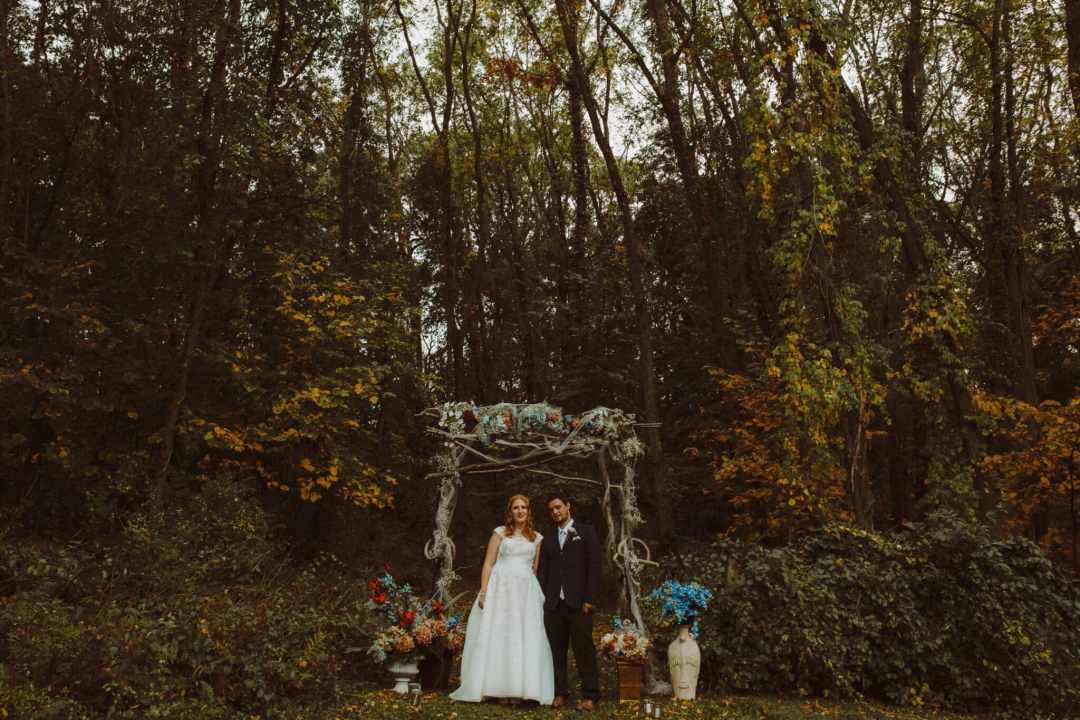 wedding boho bride groom woods portrait couple