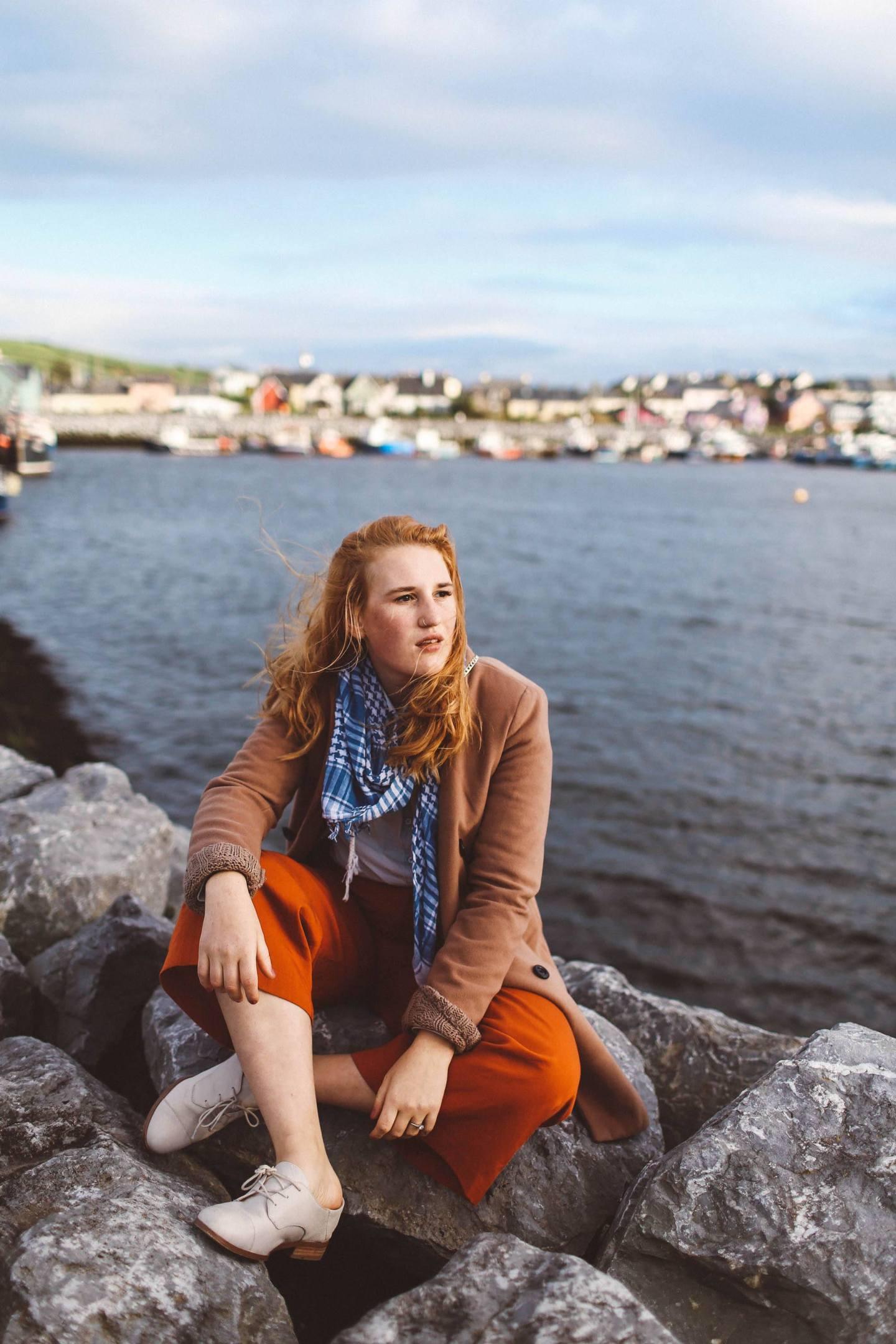 dingle ireland camel coat orange pants