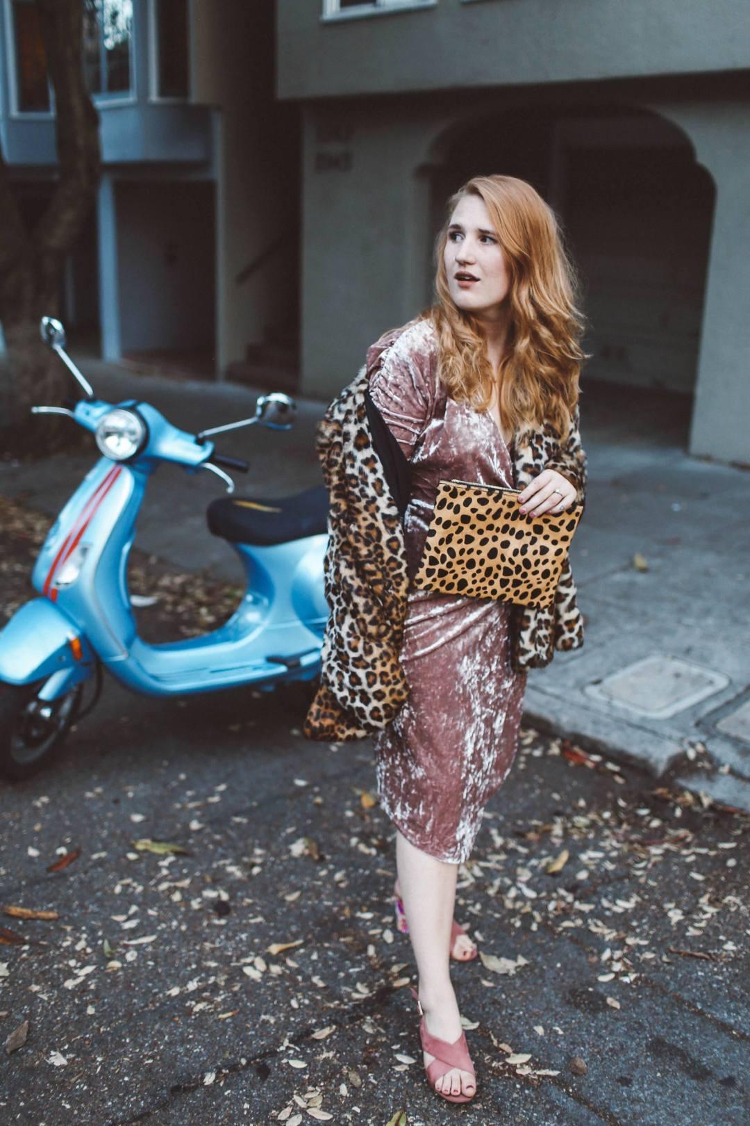 pink velvet dress leopard coat moped
