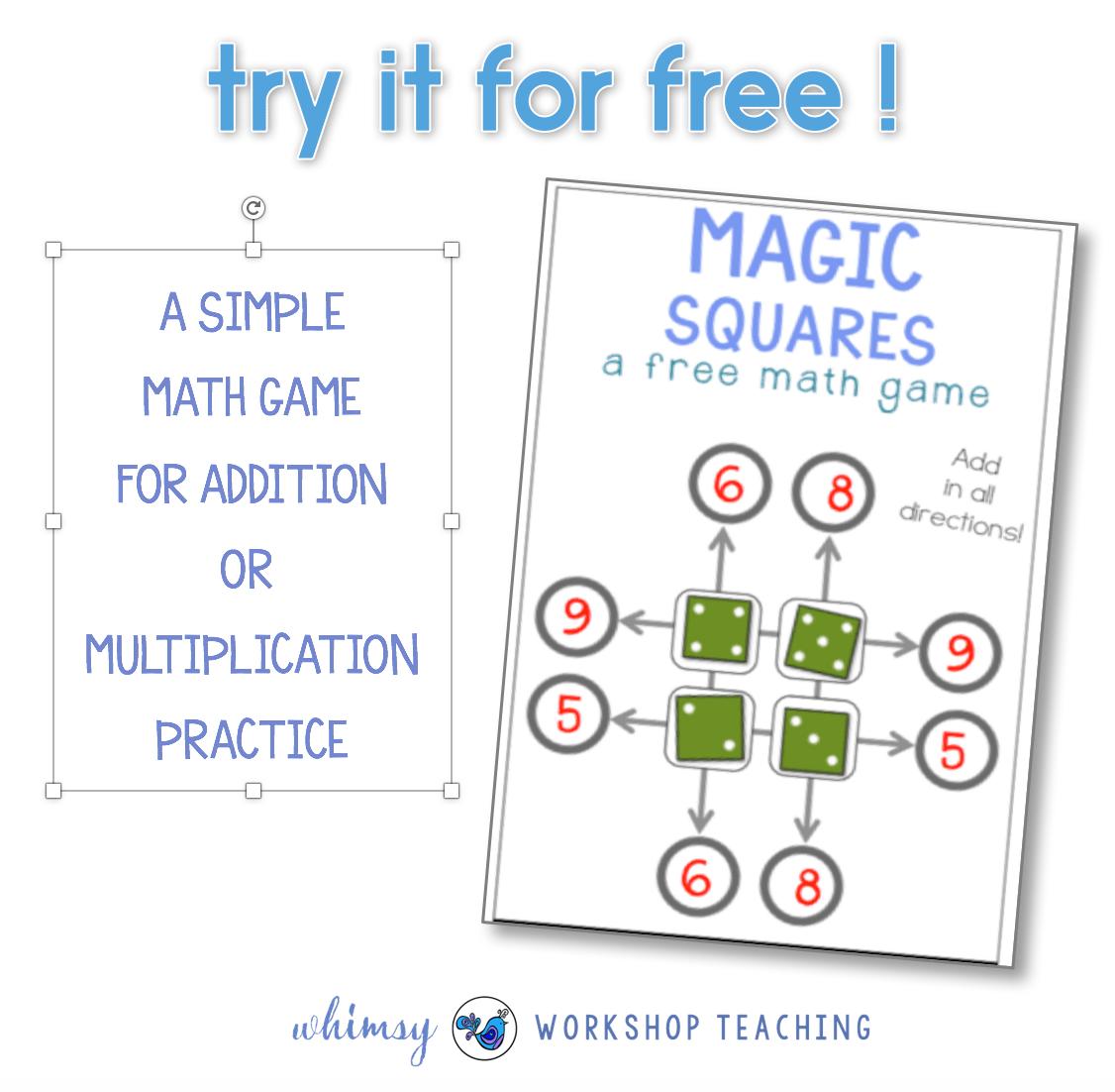 Free Magic Squares Math Game