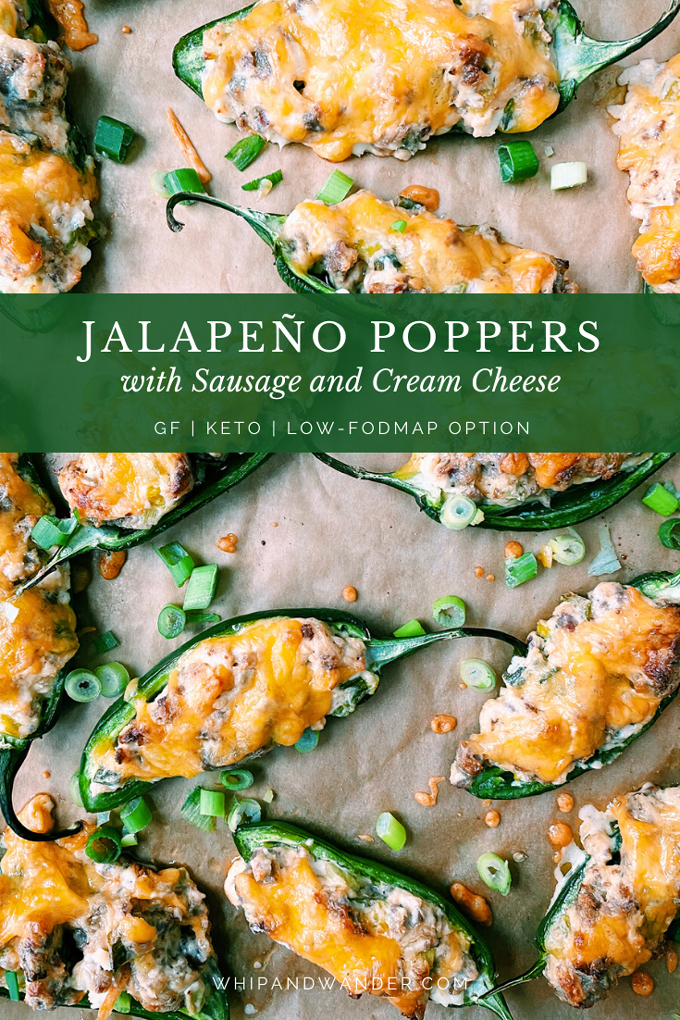 Jalapeno Poppers with Sausage and Cream Cheese on a tray with a test banner over top in green
