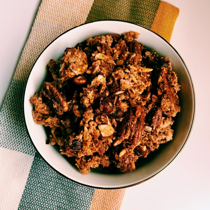 This grain-free granola is excellent on parfaits, with cold milk, and on its own as a snack. It's Paleo and SIBO-friendly and is free of refined sugars.