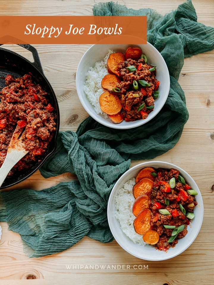a skillet of sloppy joe meat resting next to two white dishes filled with rice, sloppy joe meat, and roasted sweet potatoes