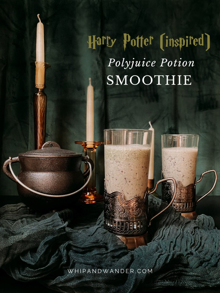 glasses of polyjuice potion smoothie, a small cast iron cauldron, and candlesticks in front of a green velvet drape