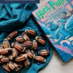 a green plate of cockroach clusters resting on a blue green towel next to a harry potter book