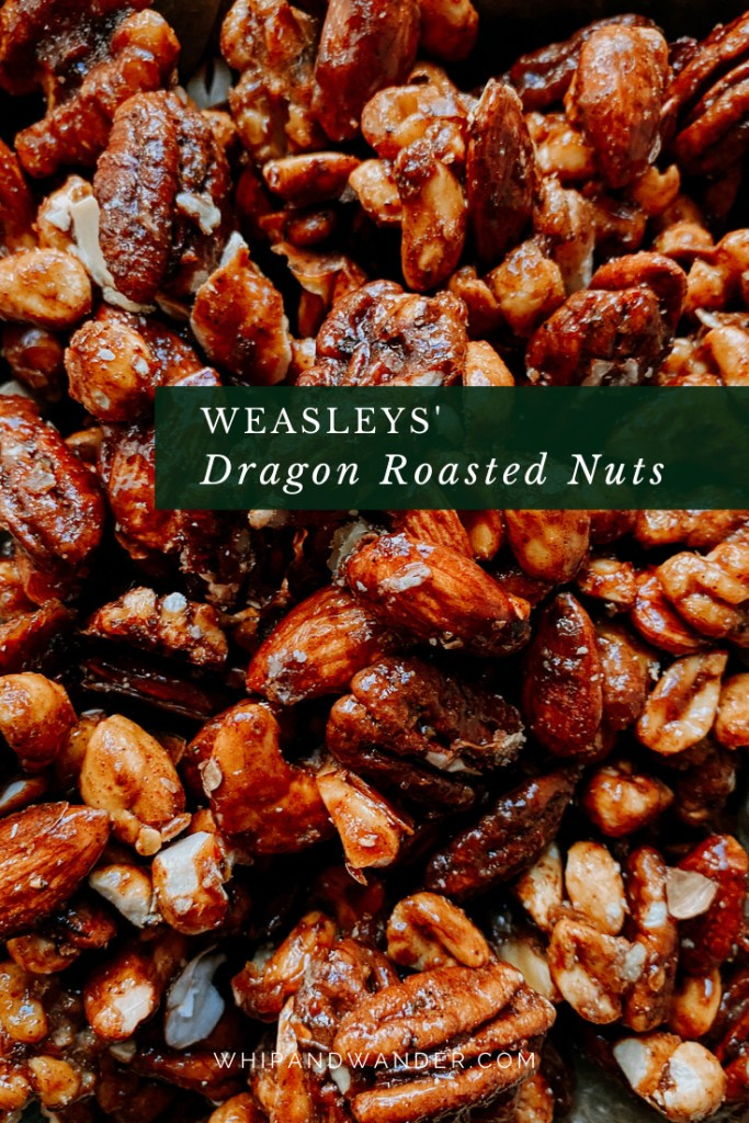 pecans, cashews, walnuts, peanuts, and almonds that have been candied with chili pepper, spices, and honey