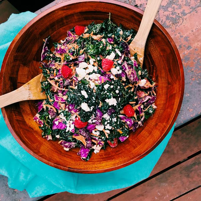 Kale-Hater's Creamy Raspberry Kale Salad