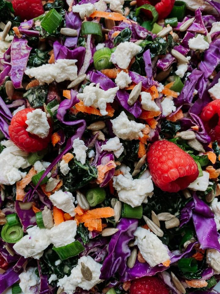 Closeup shot of raspberries, kale, carrots, cabbage, scallions, cheese