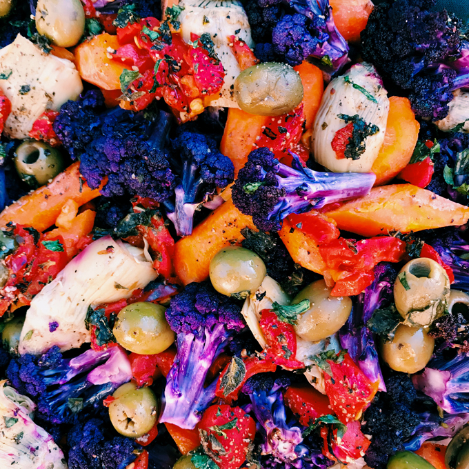 Mediterranean Roasted Rainbow Vegetables