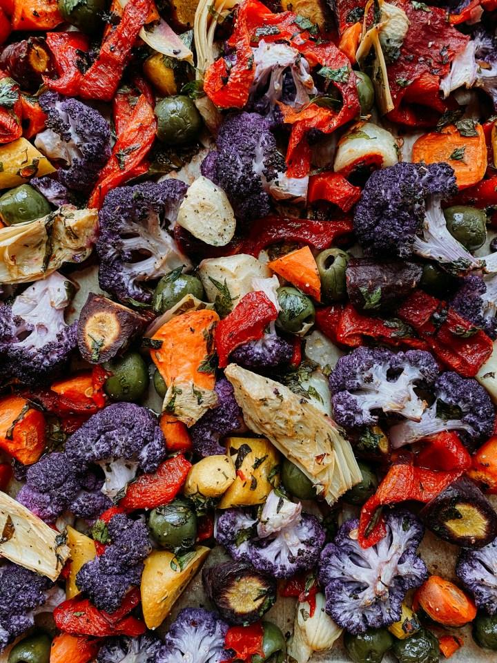 closeup of Mediterranean Roasted Rainbow Vegetables
