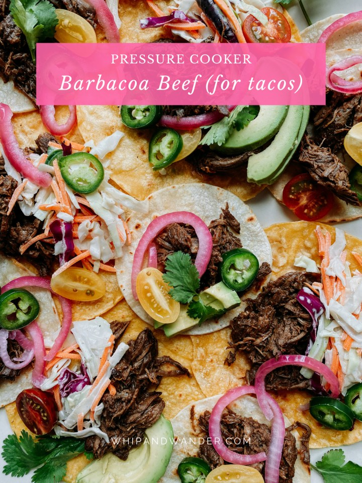 closeup of tacos filled with Pressure Cooker Barbacoa Beef