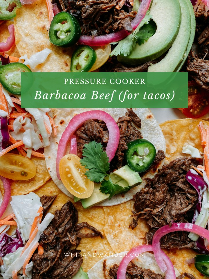 small and medium sized Pressure Cooker Barbacoa Beef in corn tortillas with colorful toppings