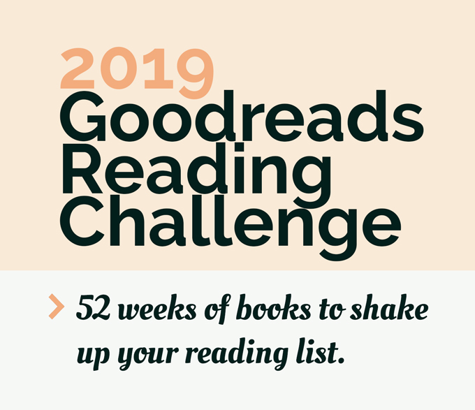 Pink and white text block with dark green text that says 2019 Goodreads Reading Challenge
