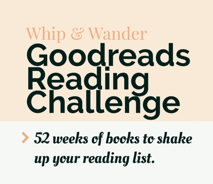 a pale pink block on top of a white block with black text that says goodreads reading challenge