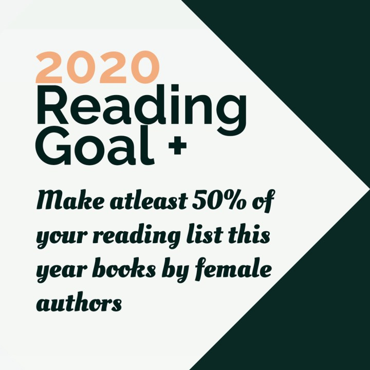 2020 reading goal text on white and dark green background