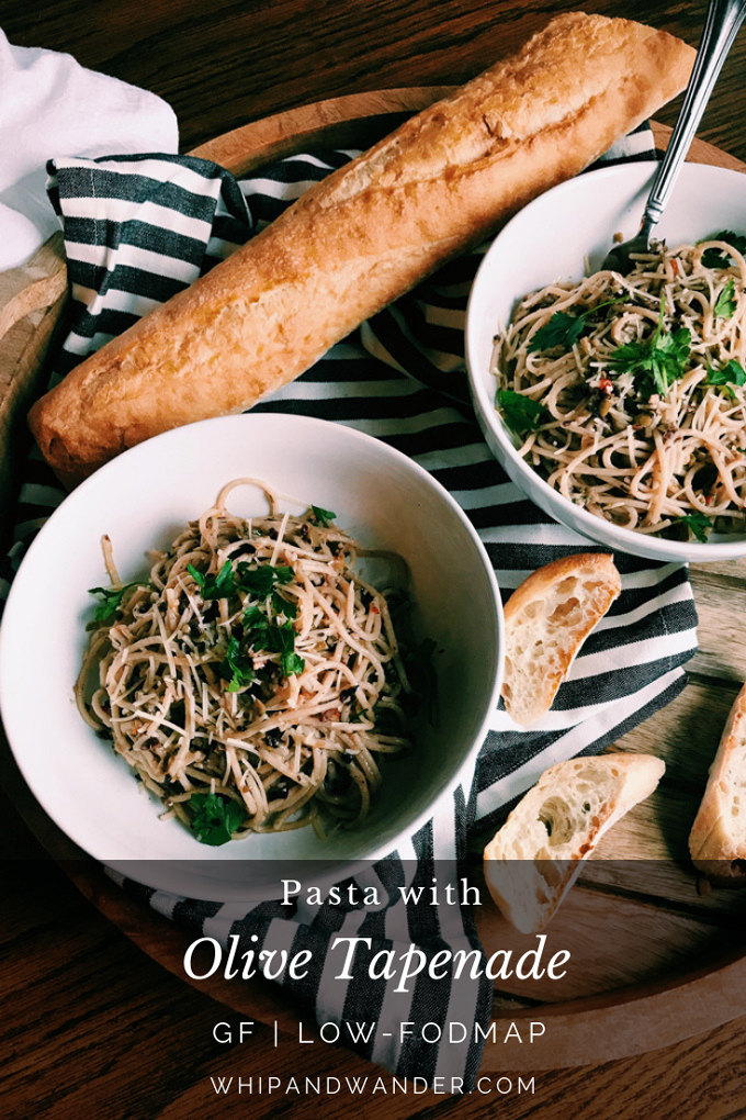Pasta with Olive Tapenade in two white bowls with baguette and gray text box