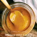white text over a gold spoon resting in a jar of gold bbq sauce