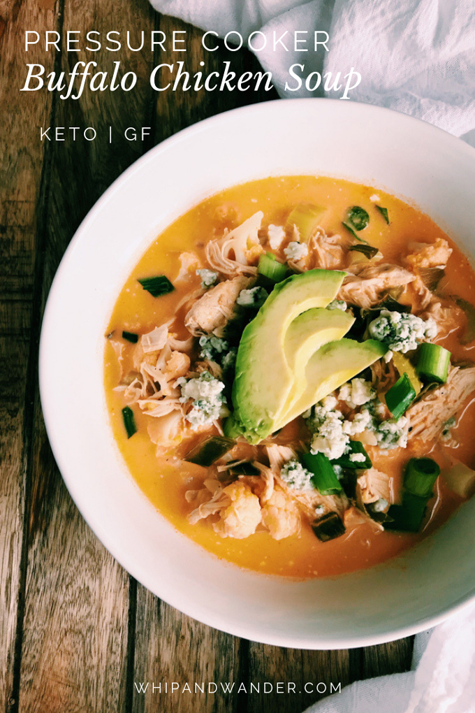 closeup of pressure cooker buffalo chicken soup with avocado in a white bowl and white text in left corner