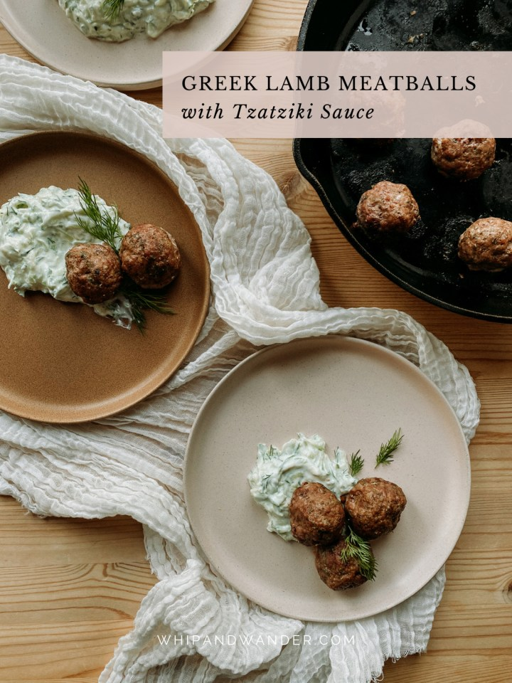 a cast iron pan next to a brown plate and a pink plate with Greek Lamb Meatballs with Tzatziki Sauce and dill on top