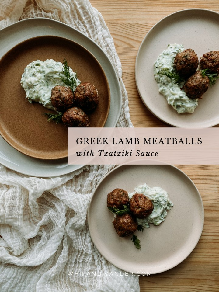 several plates in shades of pink, brown, and white containing Greek Lamb Meatballs with Tzatziki Sauce and fresh dill sprigs