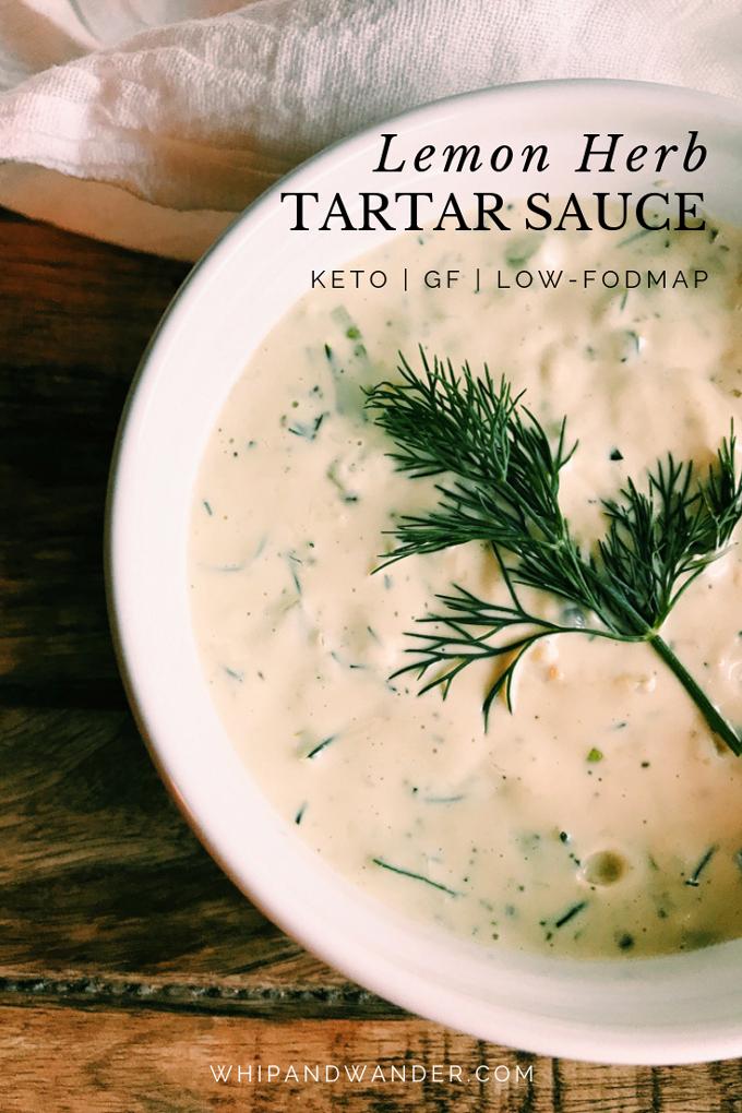 black text that says lemon herb tartar sauce over a closeup of tartar sauce with dill