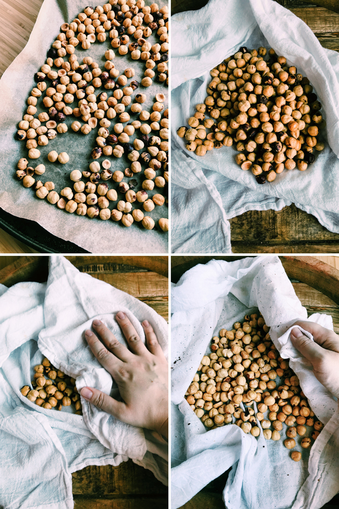 process shots of deskinning hazelnuts in a white towel