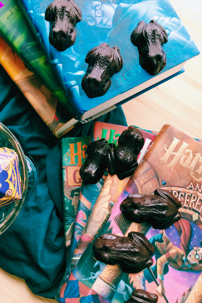 two stacks of harry potter books with chocolate frogs resting on top