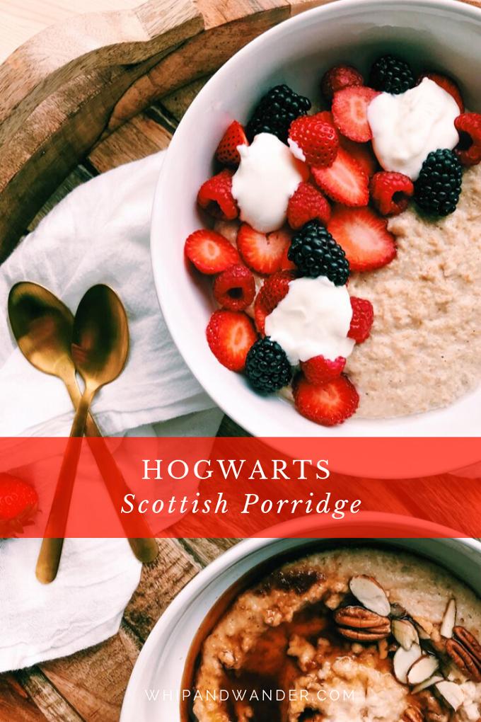 strawberries, yogurt, blackberries, raspberries in a bowl of Scottish oat porridge with gold spoons resting nearby