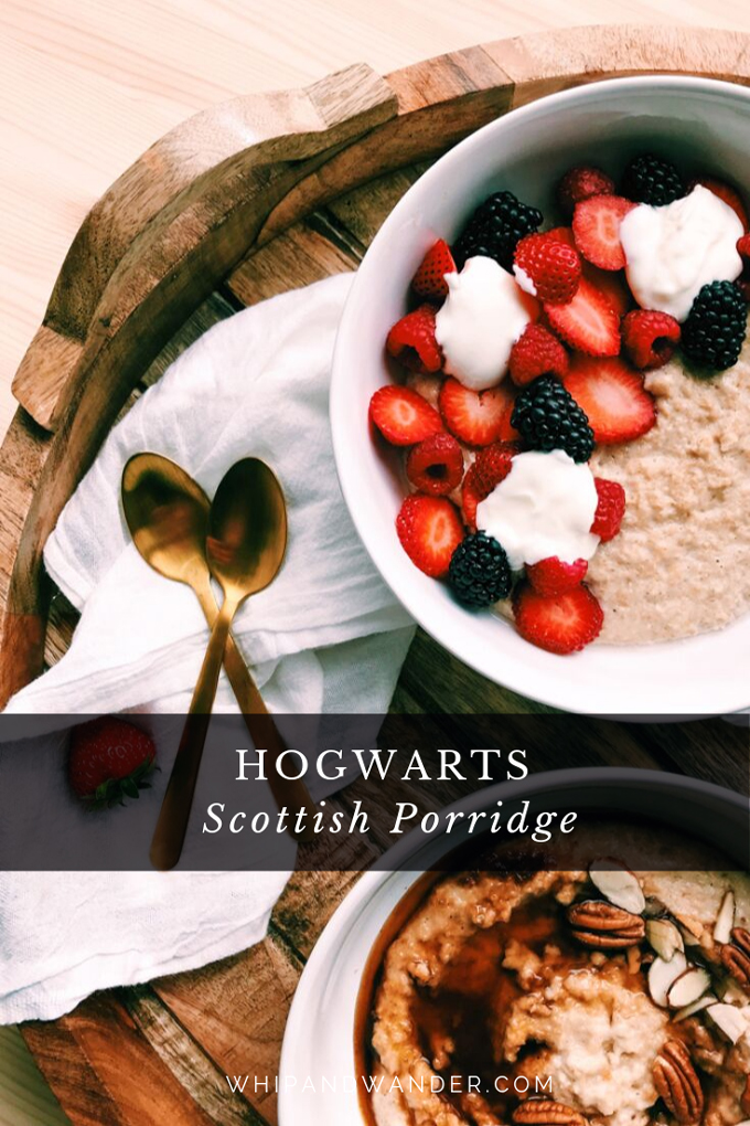 scottish porridge in a white bowl with fruit and yogurt, gold spoons