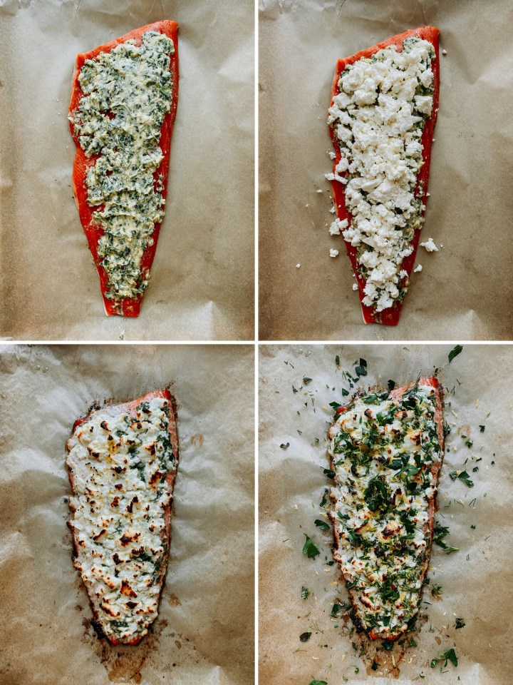 a quad of process photos showing a filet of salmon being prepped with butter, herbs, and cheese
