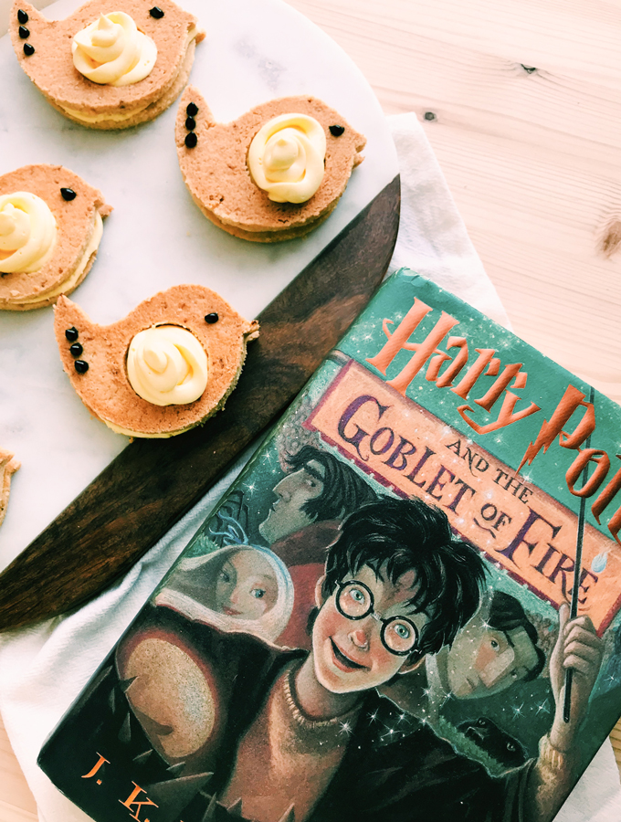 bird cookies on a tray with a harry potter book