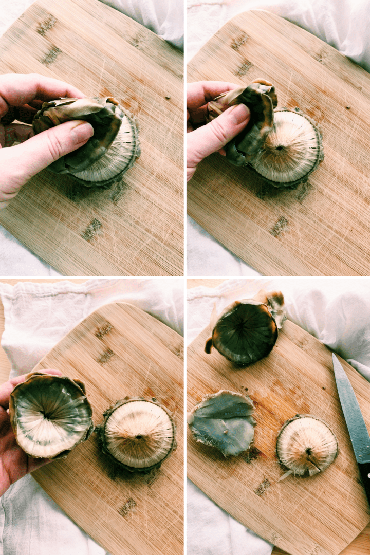 removing leaves and choke from the center of an artichoke