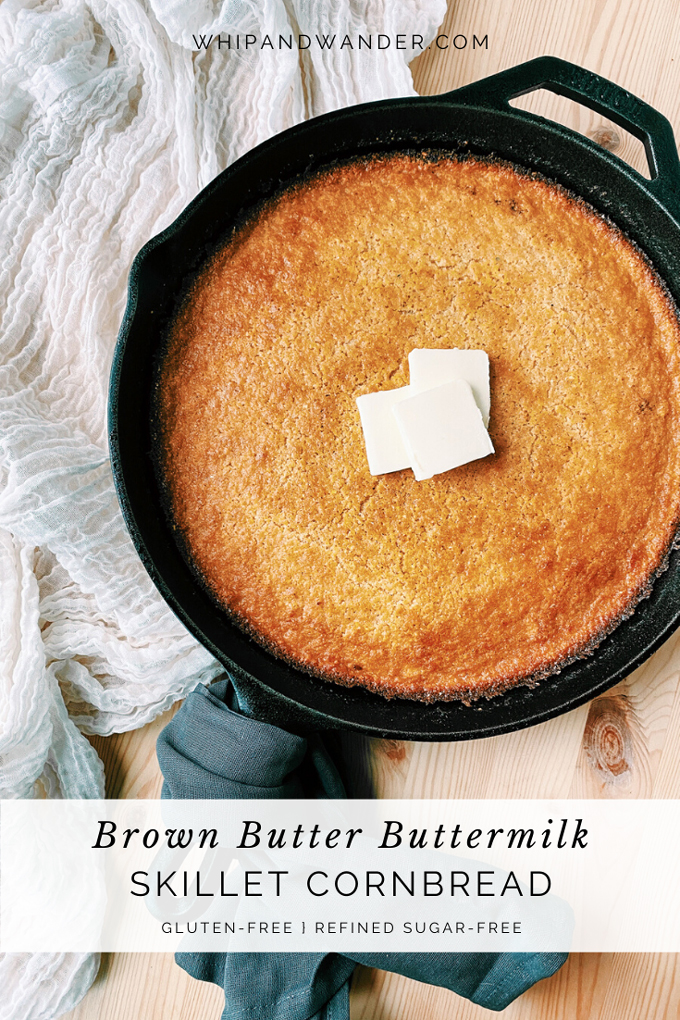 Brown Butter Buttermilk Skillet Cornbread with pats of butter on top