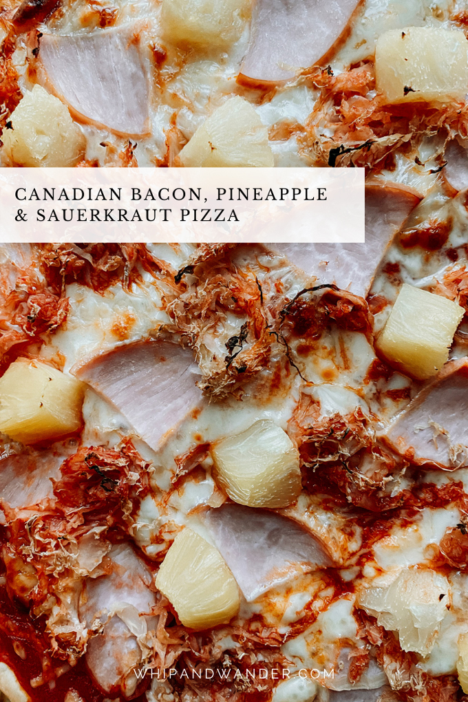 canadian bacon sauerkraut and pineapple pizza closeup view