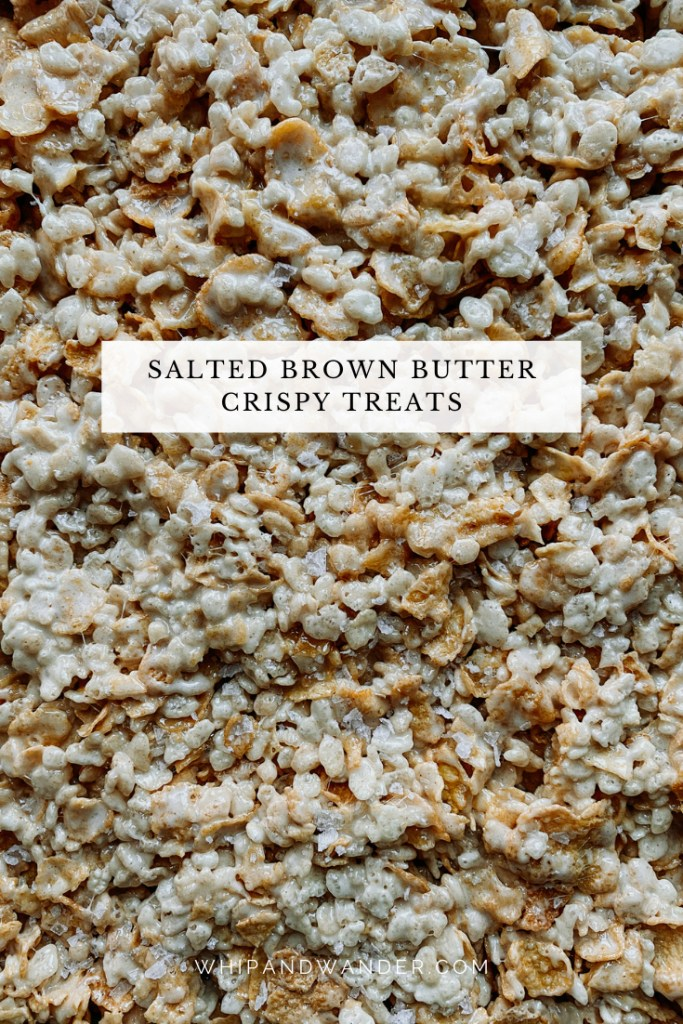 detail view of Salted Brown Butter Crispy Treats with marshmallow